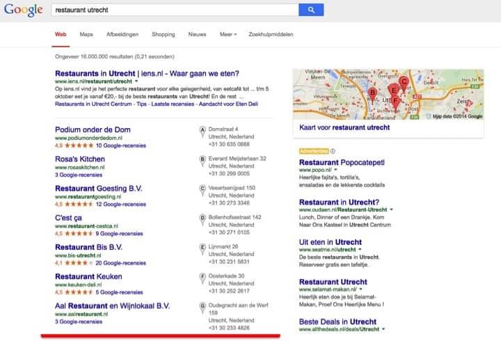 vindbaar, google, pagina 1, hoog in google, horeca, restaurant