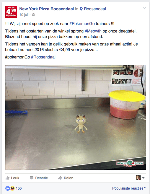pokemon go actie facebook marketing