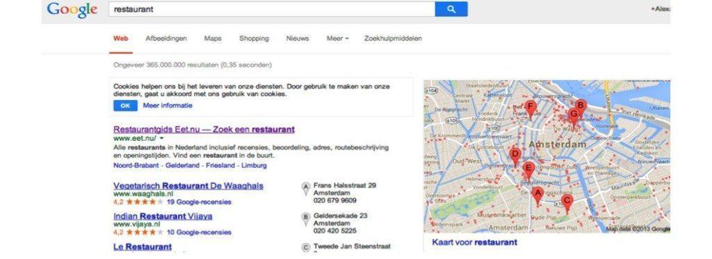google, vindbaar, zoeken, restaurant