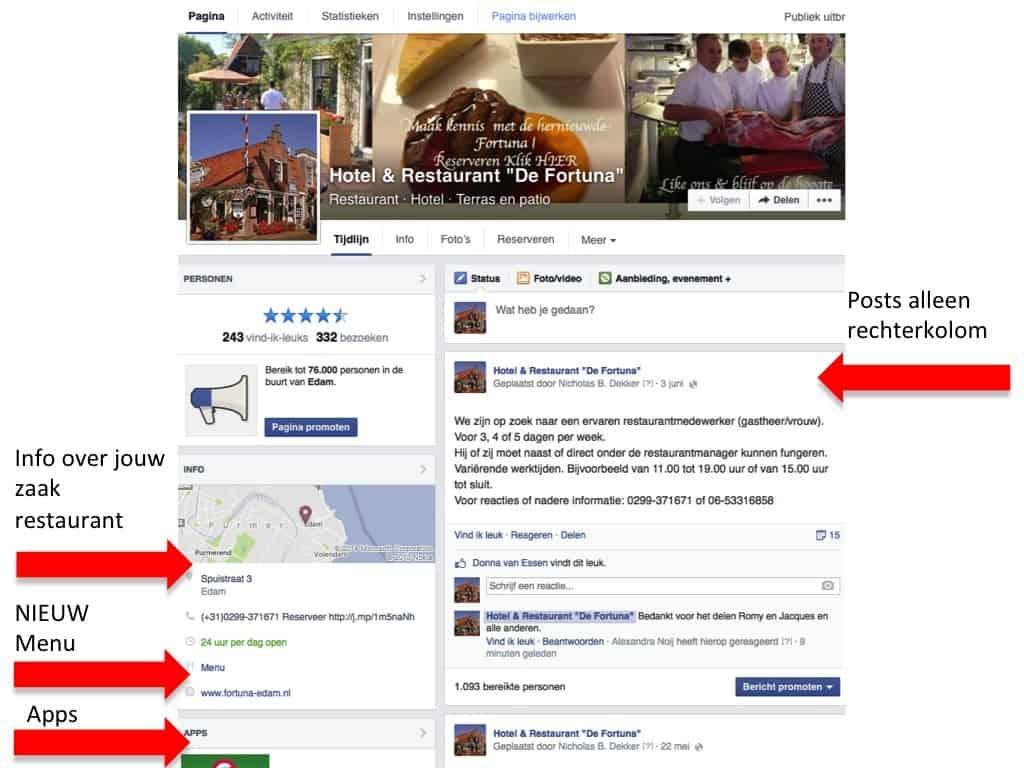 facebook pagina promoten, facebook marketing, horeca, restaurant, online marketing